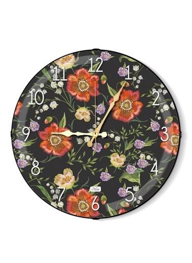 The Mia Duvar Saati - Floral A 35 Cm Renkli